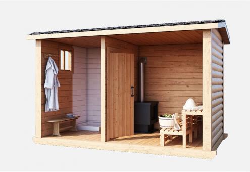 Баня деревянная с пологом и печкой 4м