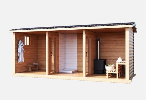 Баня деревянная с пологом и печкой 5м
