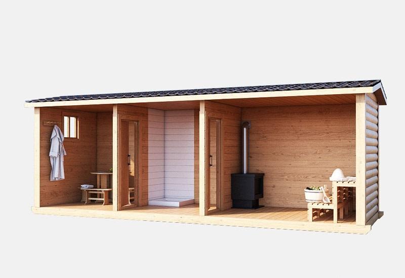 Баня деревянная с пологом и печкой 6м