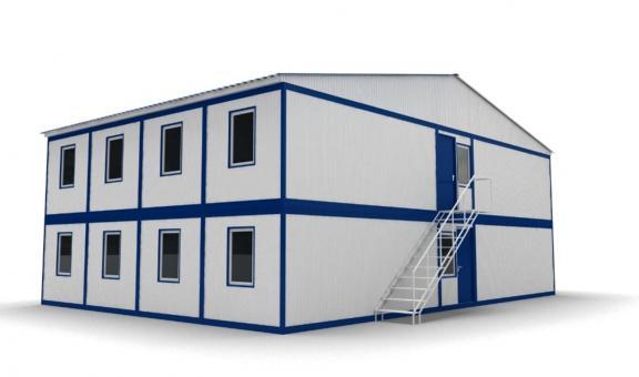 Модульное здание в два этажа с двухскатной кровлей (8 блок-контейнеров)