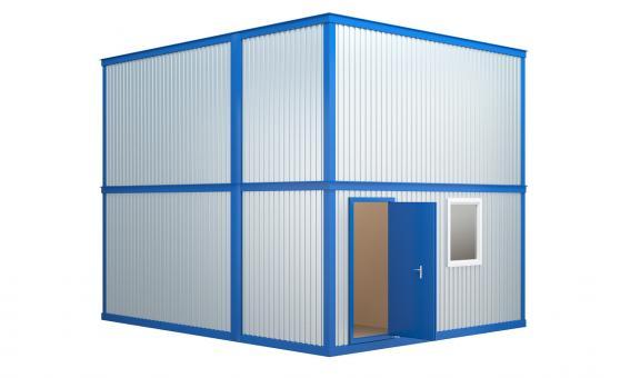 Модульное здание в два этажа с плоской кровлей (4 блок-контейнера)