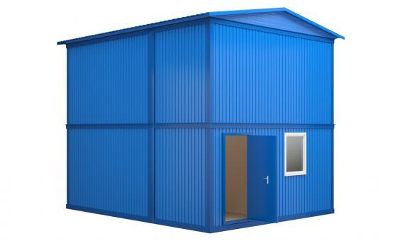 Модульное здание в два этажа с двухскатной кровлей (4 блок-контейнера)