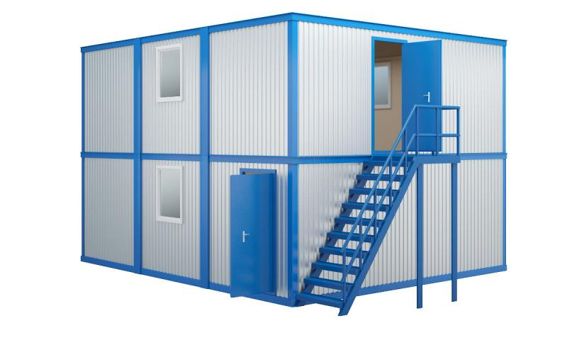 Модульное здание в два этажа с плоской кровлей (6 блок-контейнеров)