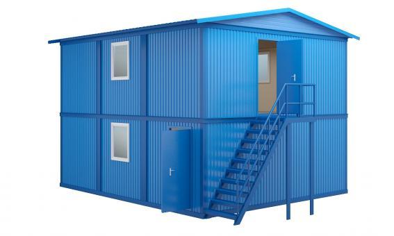 Модульное здание в два этажа с двухскатной кровлей (6 блок-контейнеров)